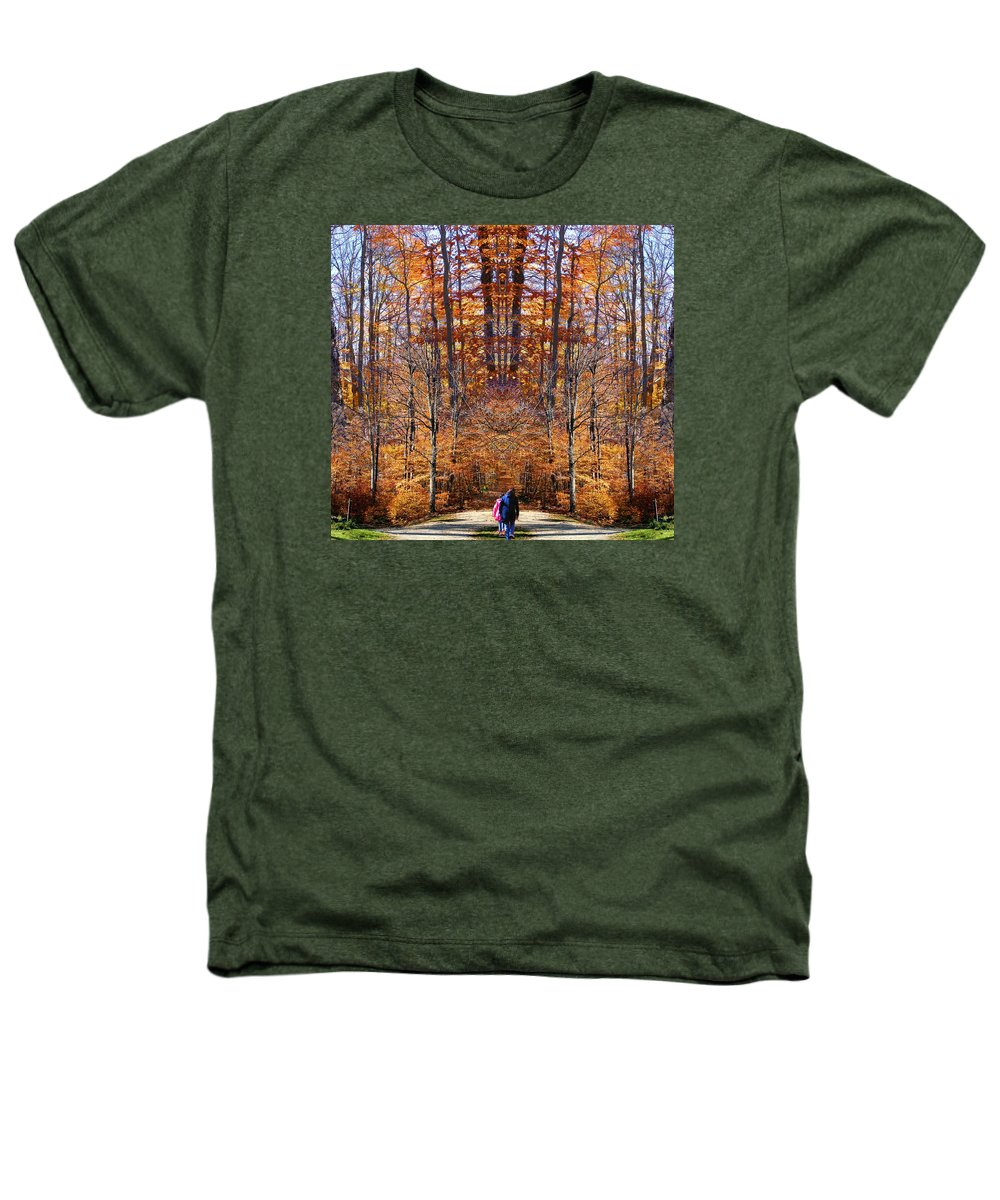 Fall Autumn Trees Foliage Leaves Photography Woods Forest October Heathers T-Shirt featuring the photograph The Hidden Path Revealed by Dave Martsolf