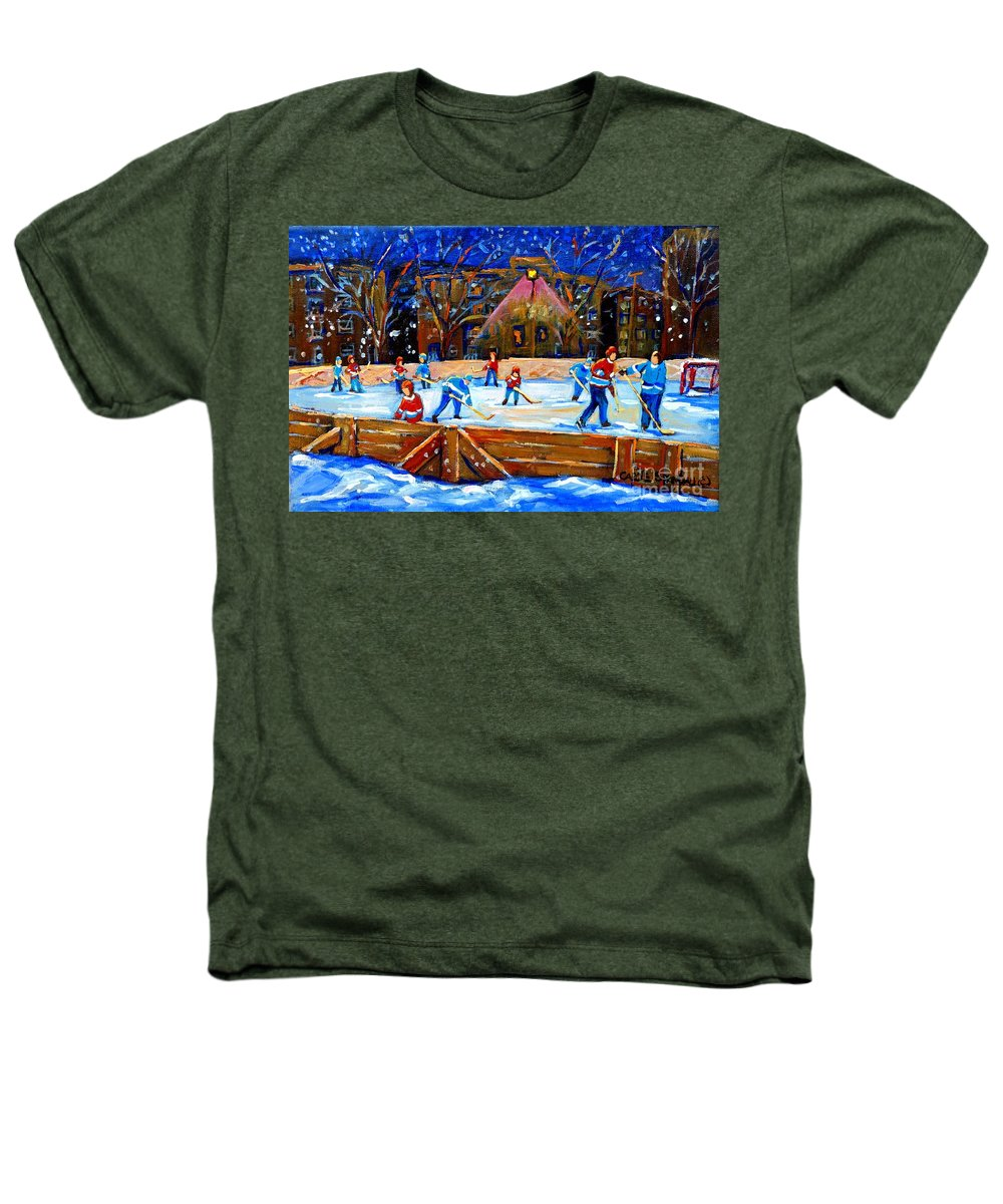 Snow Heathers T-Shirt featuring the painting The Hockey Rink by Carole Spandau