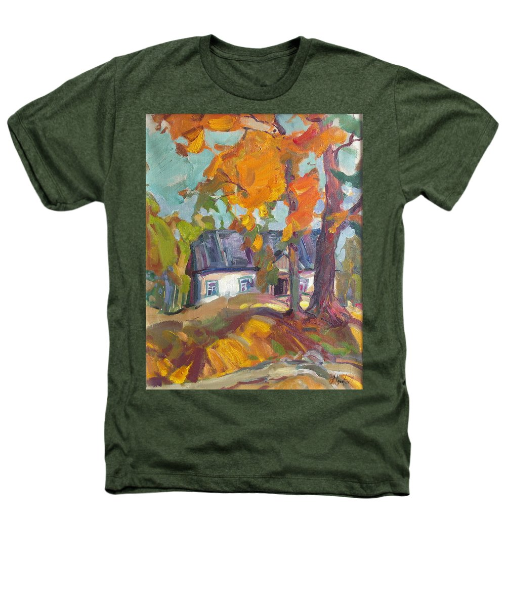 Oil Heathers T-Shirt featuring the painting The House In Chervonka Village by Sergey Ignatenko
