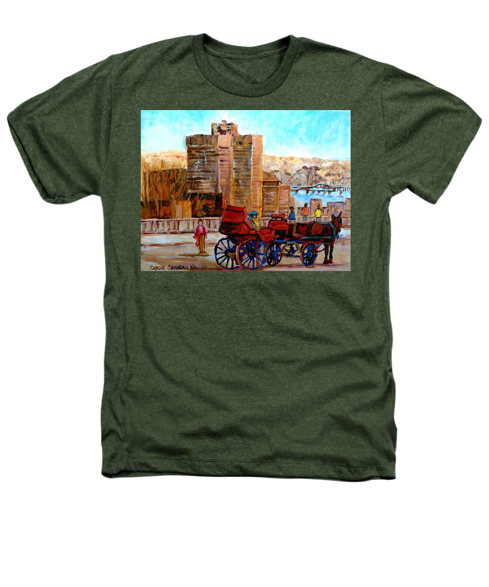 Montreal Street Scene Heathers T-Shirt featuring the painting The Lookout On Mount Royal Montreal by Carole Spandau