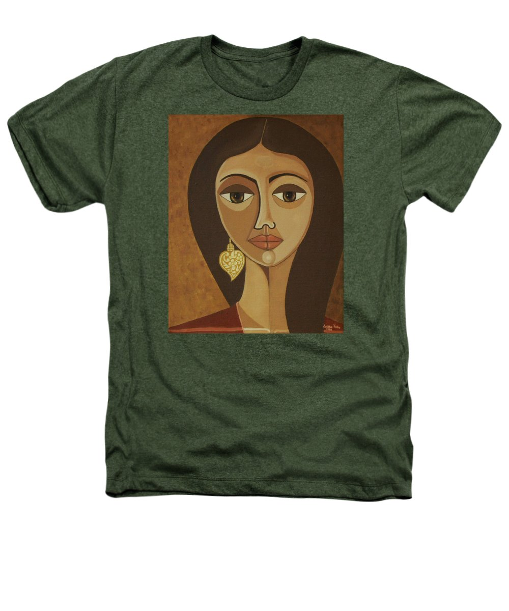 Portuguese Heathers T-Shirt featuring the painting The Portuguese Earring by Madalena Lobao-Tello