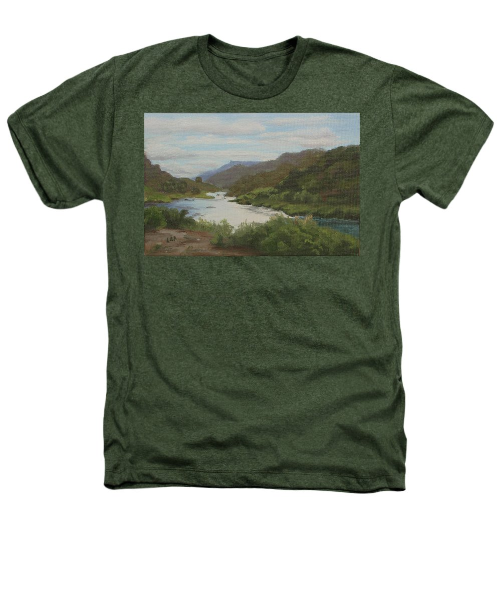 Landscape Heathers T-Shirt featuring the painting The Rio Grande Between Taos And Santa Fe by Lea Novak