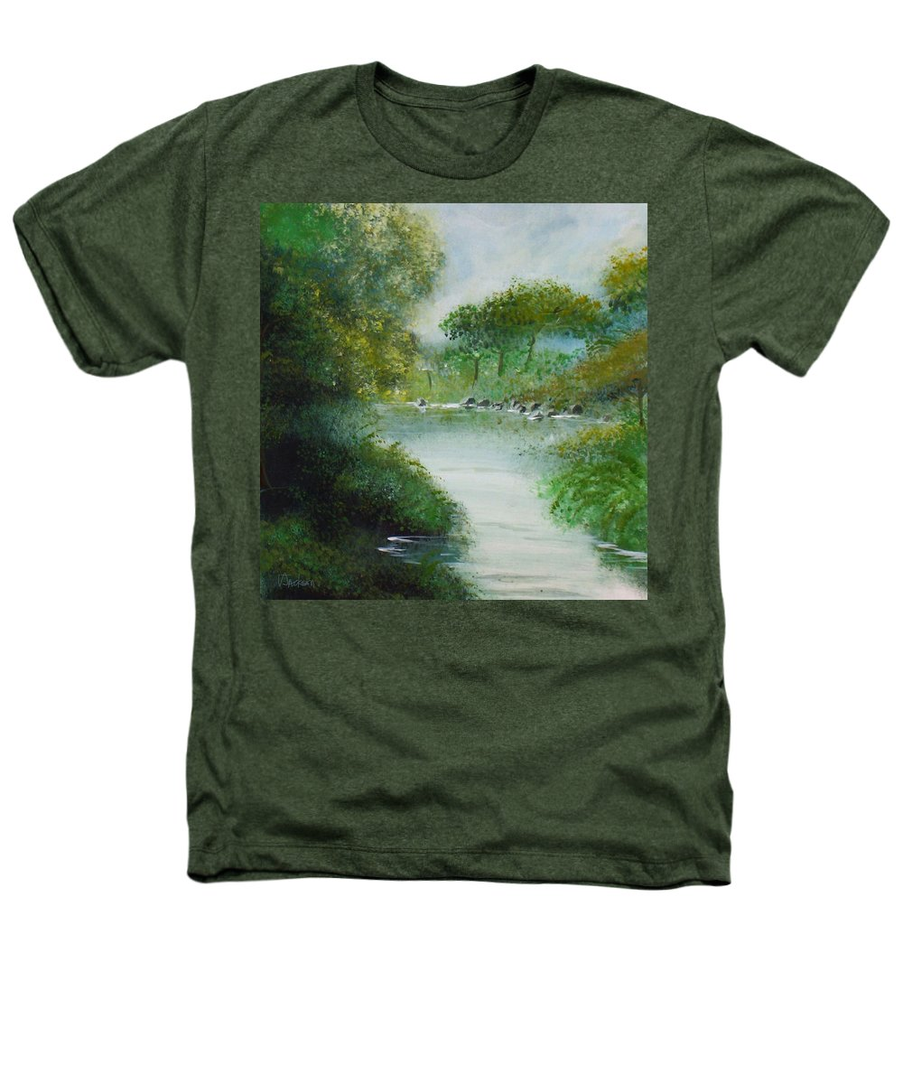 River Water Trees Clouds Leaves Nature Green Heathers T-Shirt featuring the painting The River by Veronica Jackson
