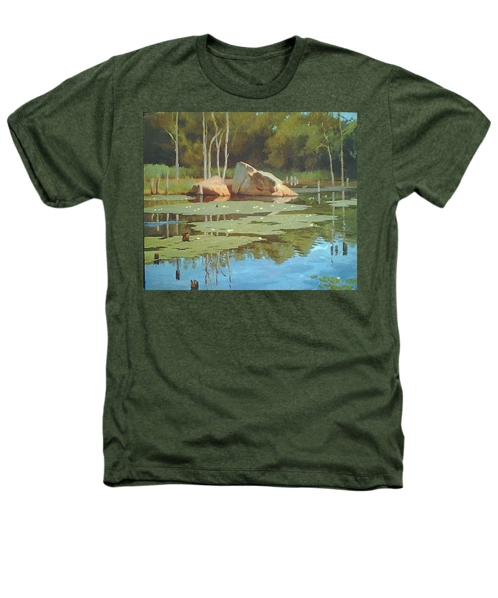 Landscape Heathers T-Shirt featuring the painting The Rock by Dianne Panarelli Miller