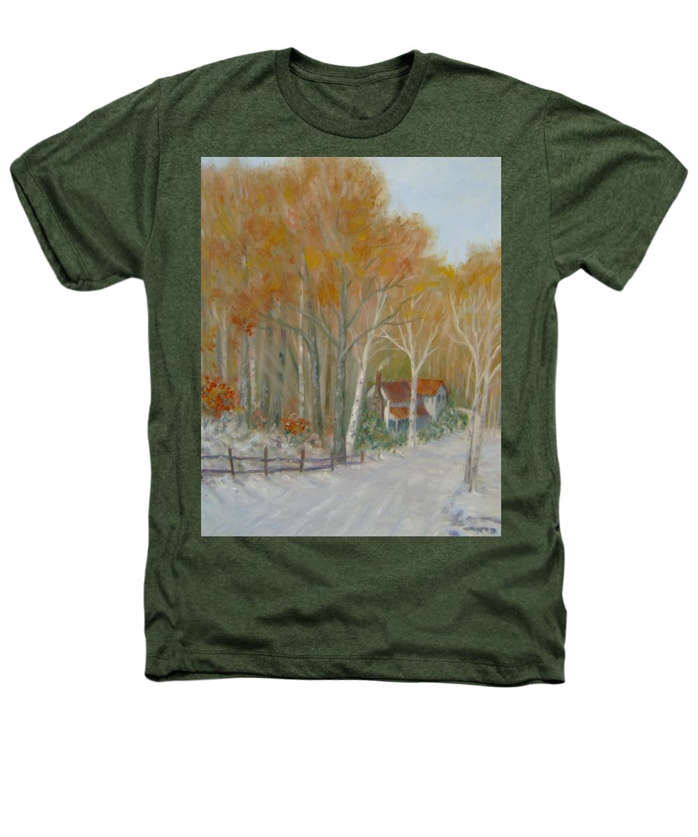 Country Road; House; Snow Heathers T-Shirt featuring the painting To Grandma's House by Ben Kiger