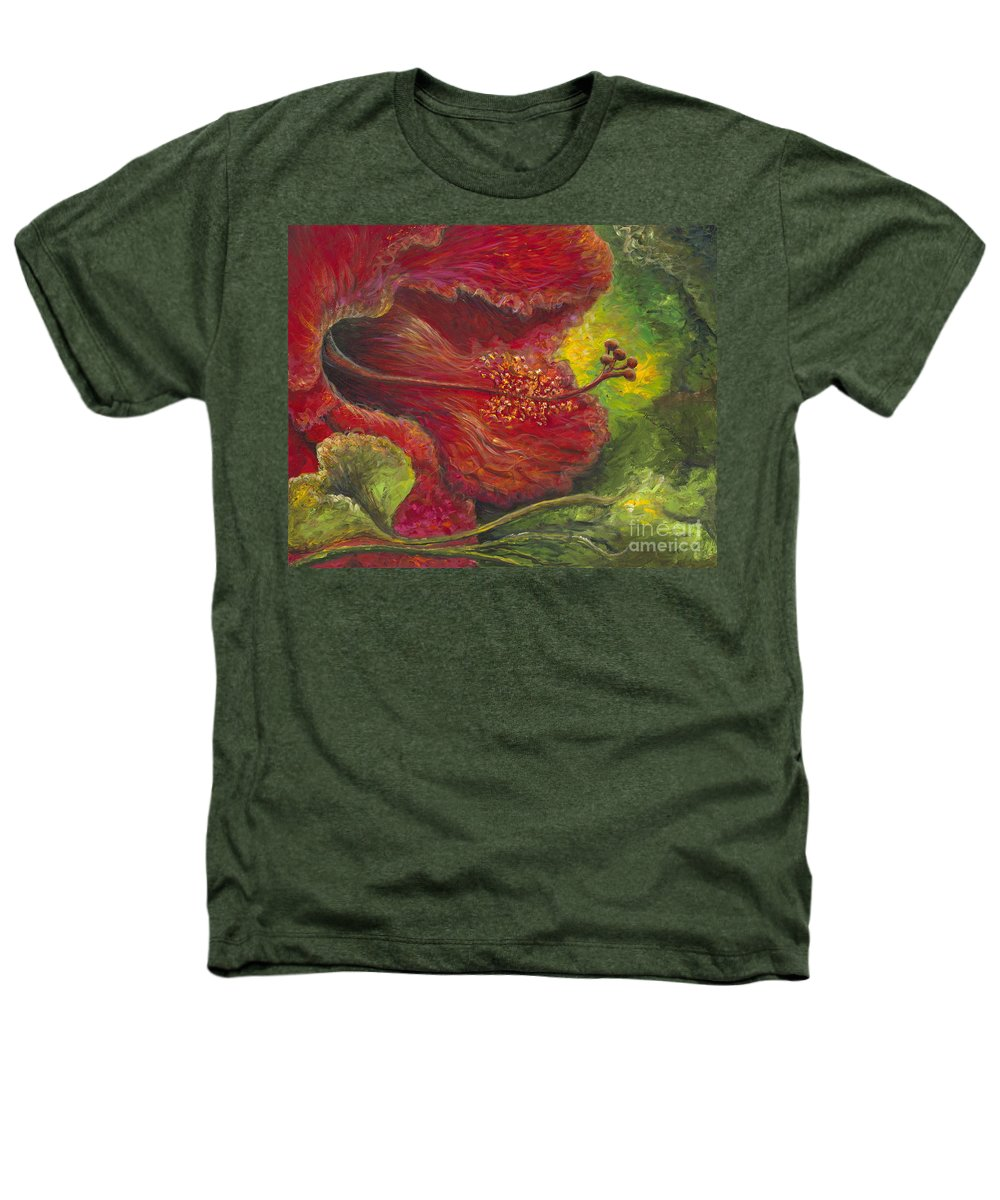 Flowers Heathers T-Shirt featuring the painting Tropical Hibiscus by Nadine Rippelmeyer