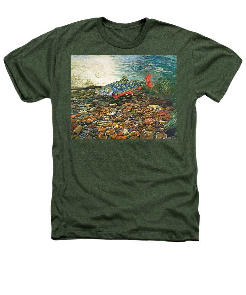 Art Heathers T-Shirt featuring the painting Trout Art Fish Art Brook Trout Suspended Artwork Giclee Fine Art Print by Baslee Troutman