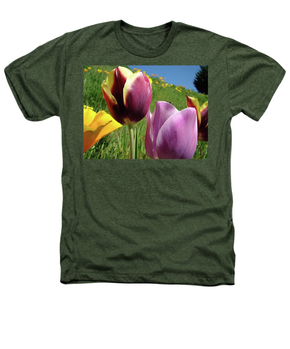 �tulips Artwork� Heathers T-Shirt featuring the photograph Tulips Artwork Tulip Flowers Spring Meadow Nature Art Prints by Baslee Troutman