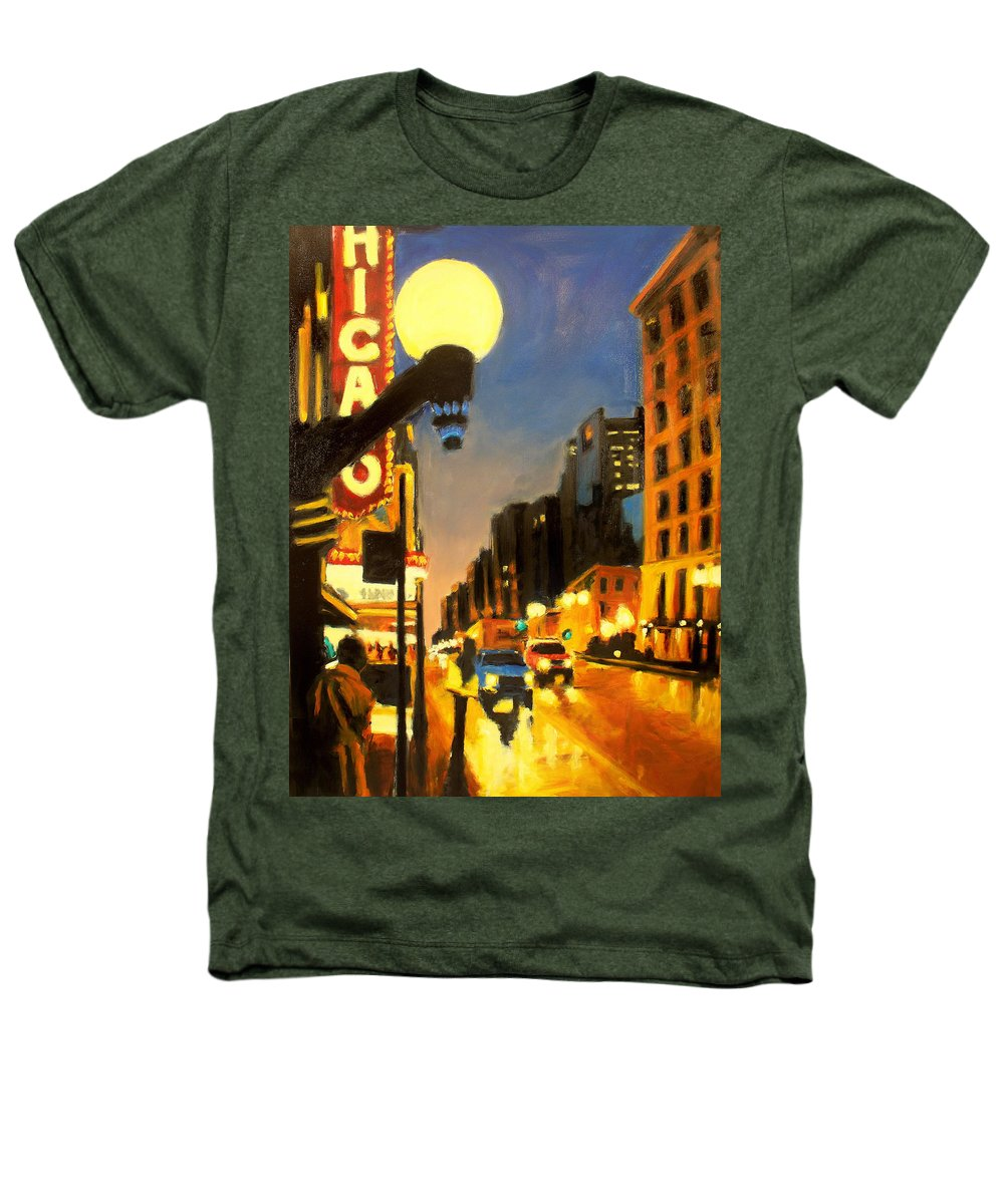 Rob Reeves Heathers T-Shirt featuring the painting Twilight In Chicago - The Watcher by Robert Reeves