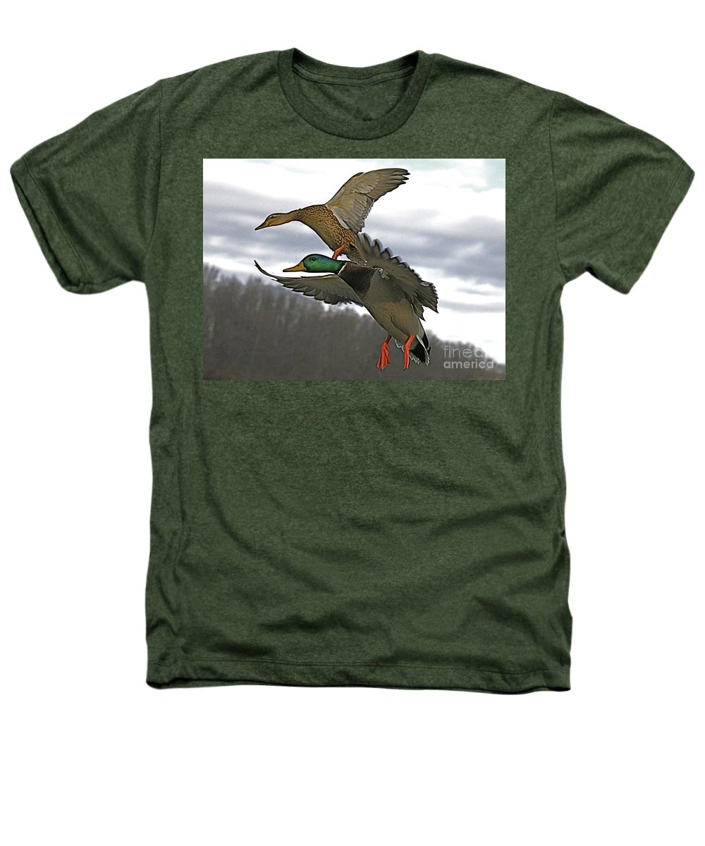 Duck Heathers T-Shirt featuring the photograph Two Land by Robert Pearson