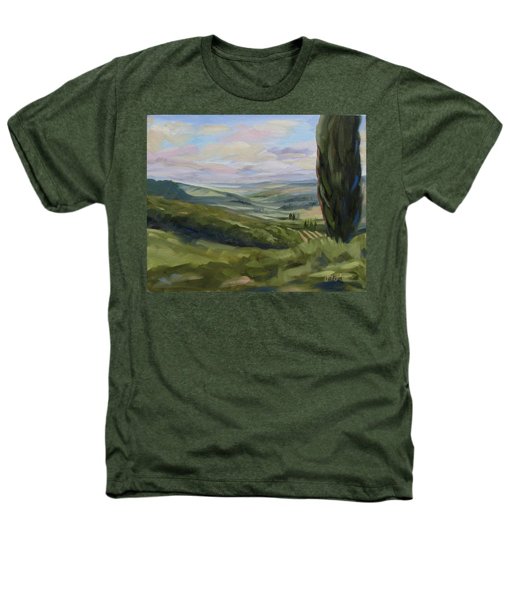 Landscape Heathers T-Shirt featuring the painting View From Sienna by Jay Johnson