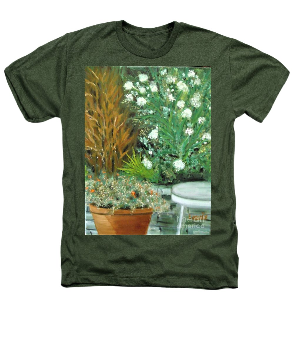 Virginia Heathers T-Shirt featuring the painting Virginia's Garden by Laurie Morgan