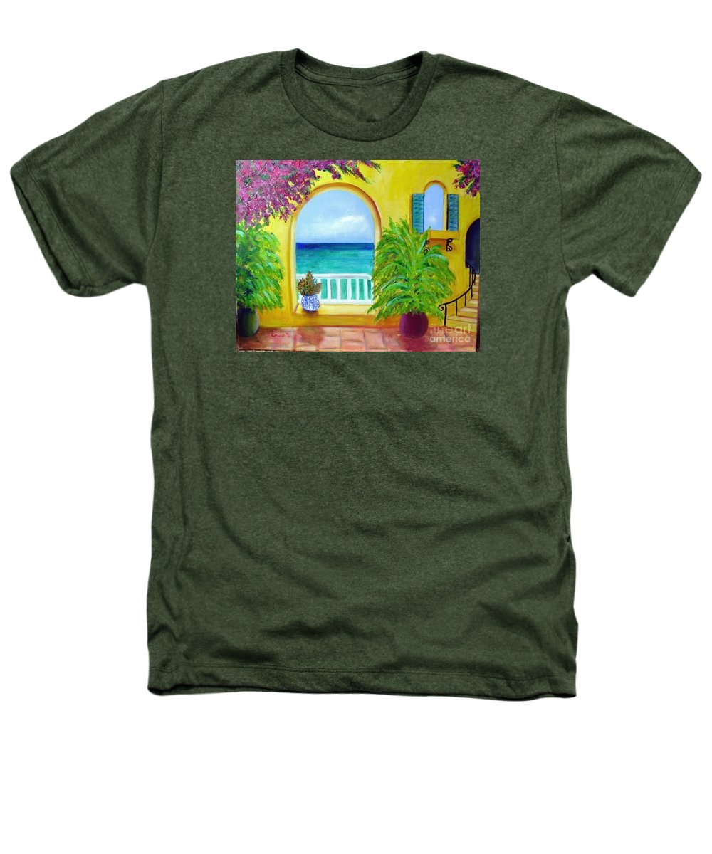 Patio Heathers T-Shirt featuring the painting Vista Del Agua by Laurie Morgan