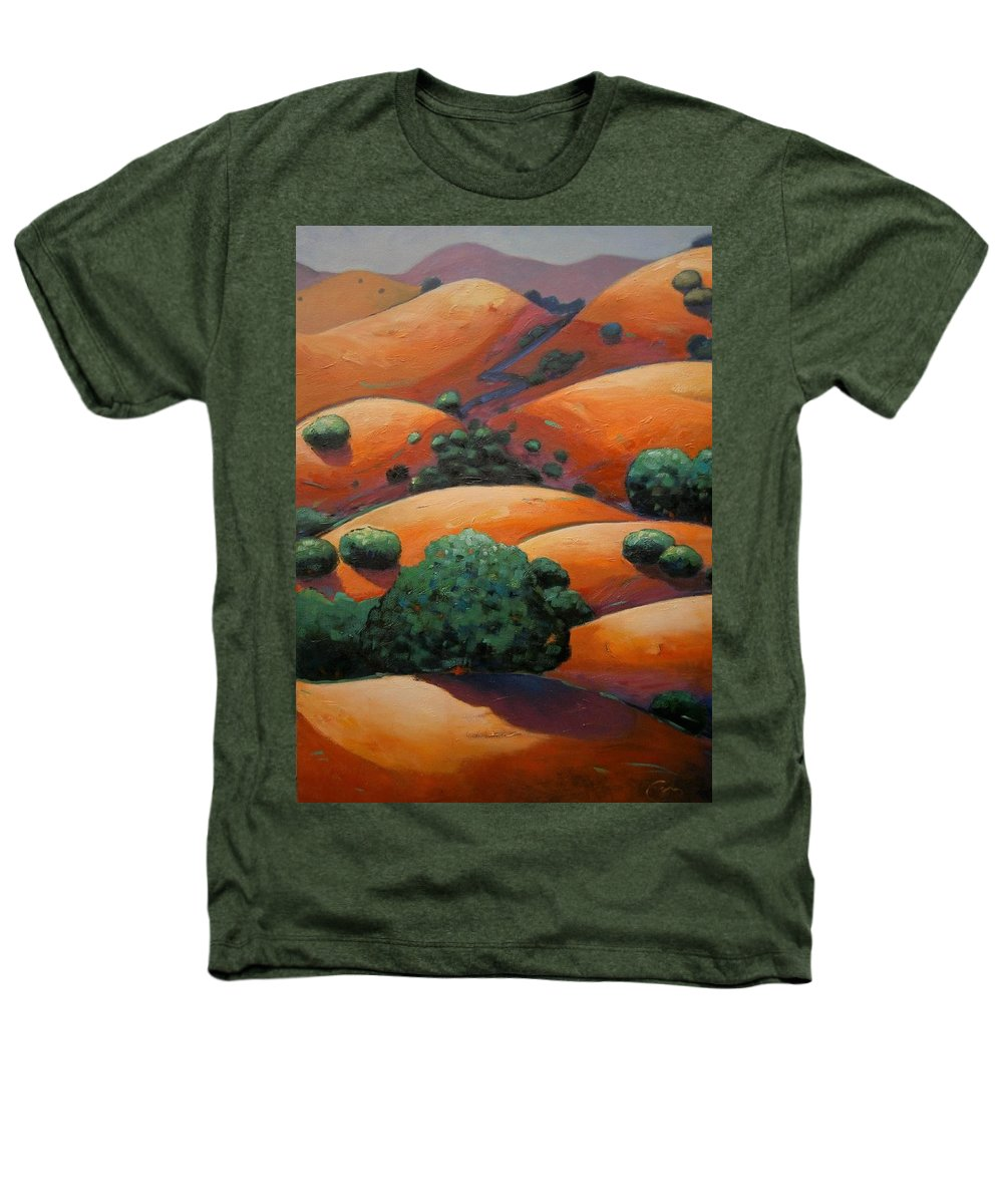 California Landscape Heathers T-Shirt featuring the painting Warm Afternoon Light On Ca Hillside by Gary Coleman