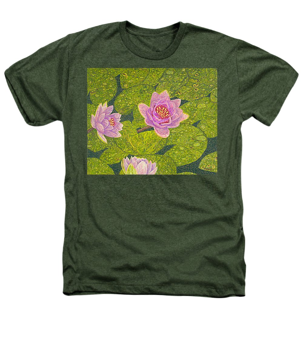 Water Lilies Heathers T-Shirt featuring the drawing Water Lilies Lily Flowers Lotuses Fine Art Prints Contemporary Modern Art Garden Nature Botanical by Baslee Troutman