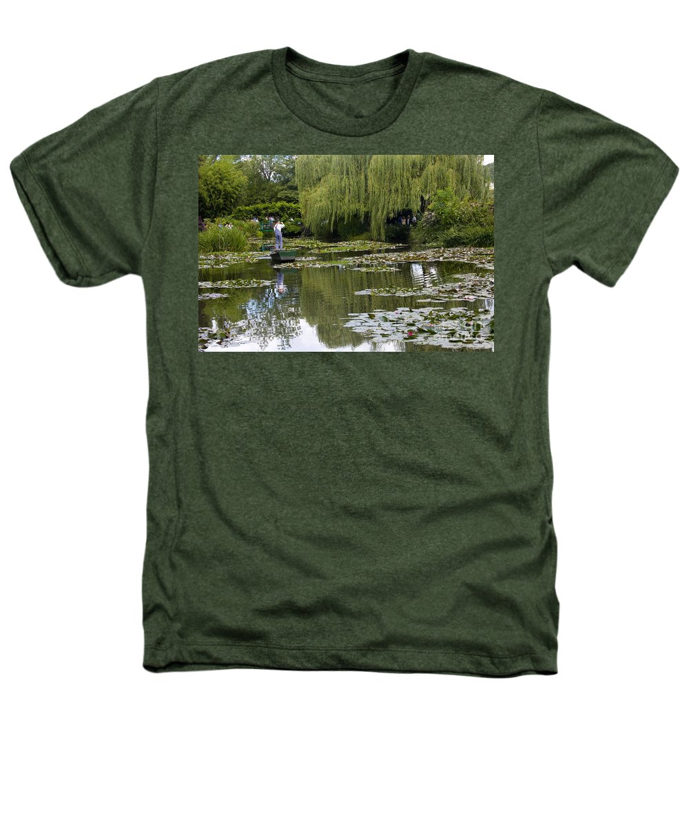 Monet Gardens Giverny France Water Lily Punt Boat Water Willows Heathers T-Shirt featuring the photograph Water Lily Garden Of Monet In Giverny by Sheila Smart Fine Art Photography