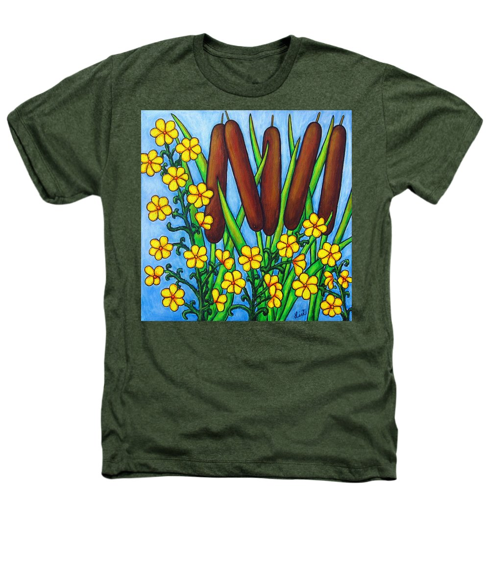 Cat Tails Heathers T-Shirt featuring the painting Wild Medley by Lisa Lorenz