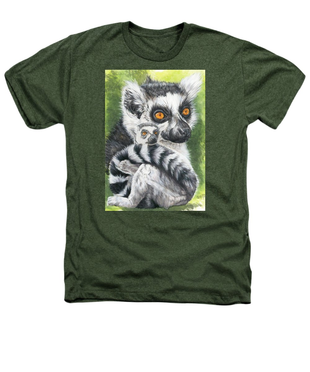 Lemur Heathers T-Shirt featuring the mixed media Wistful by Barbara Keith