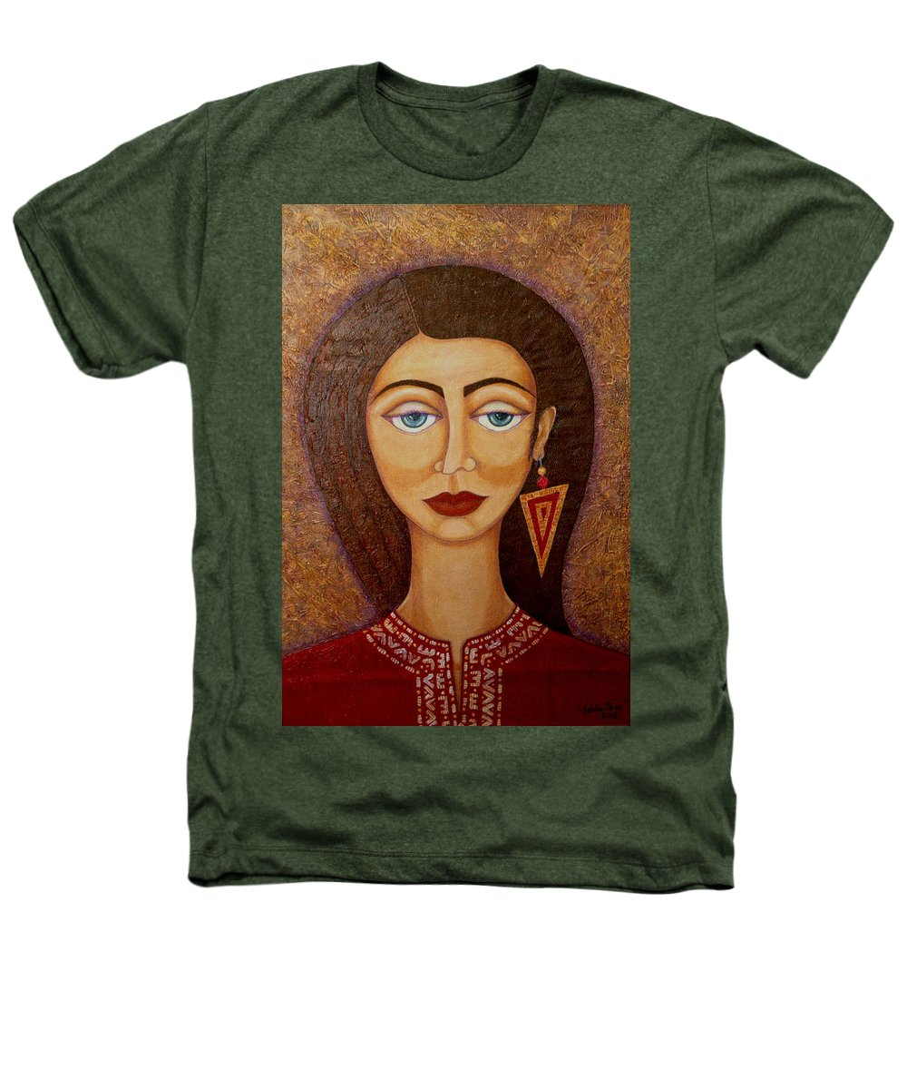 Market Heathers T-Shirt featuring the painting Woman S Market by Madalena Lobao-Tello