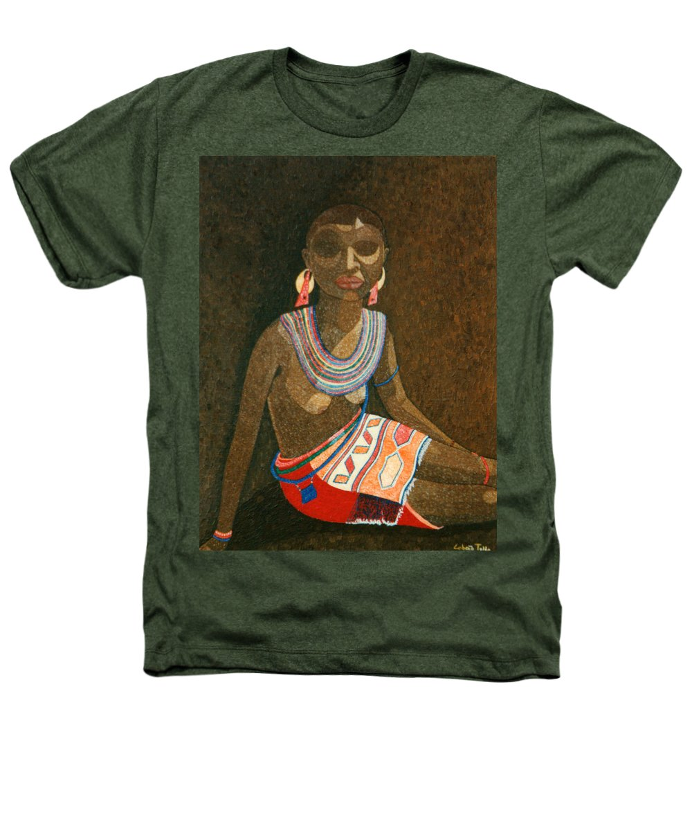 Zulu Woman Heathers T-Shirt featuring the painting Zulu Woman With Beads by Madalena Lobao-Tello