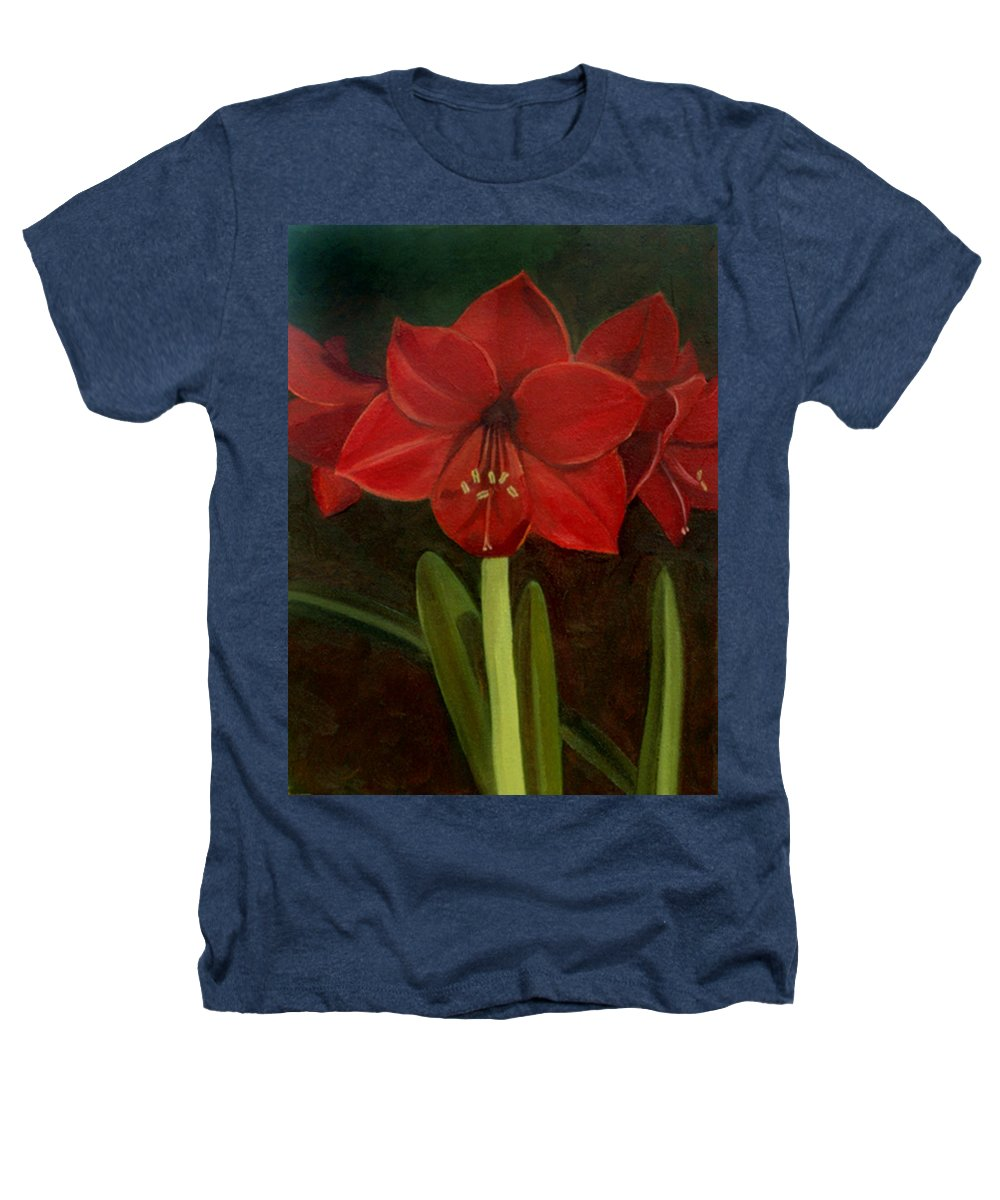 Amaryllis Heathers T-Shirt featuring the painting Amaryllis by Nancy Griswold