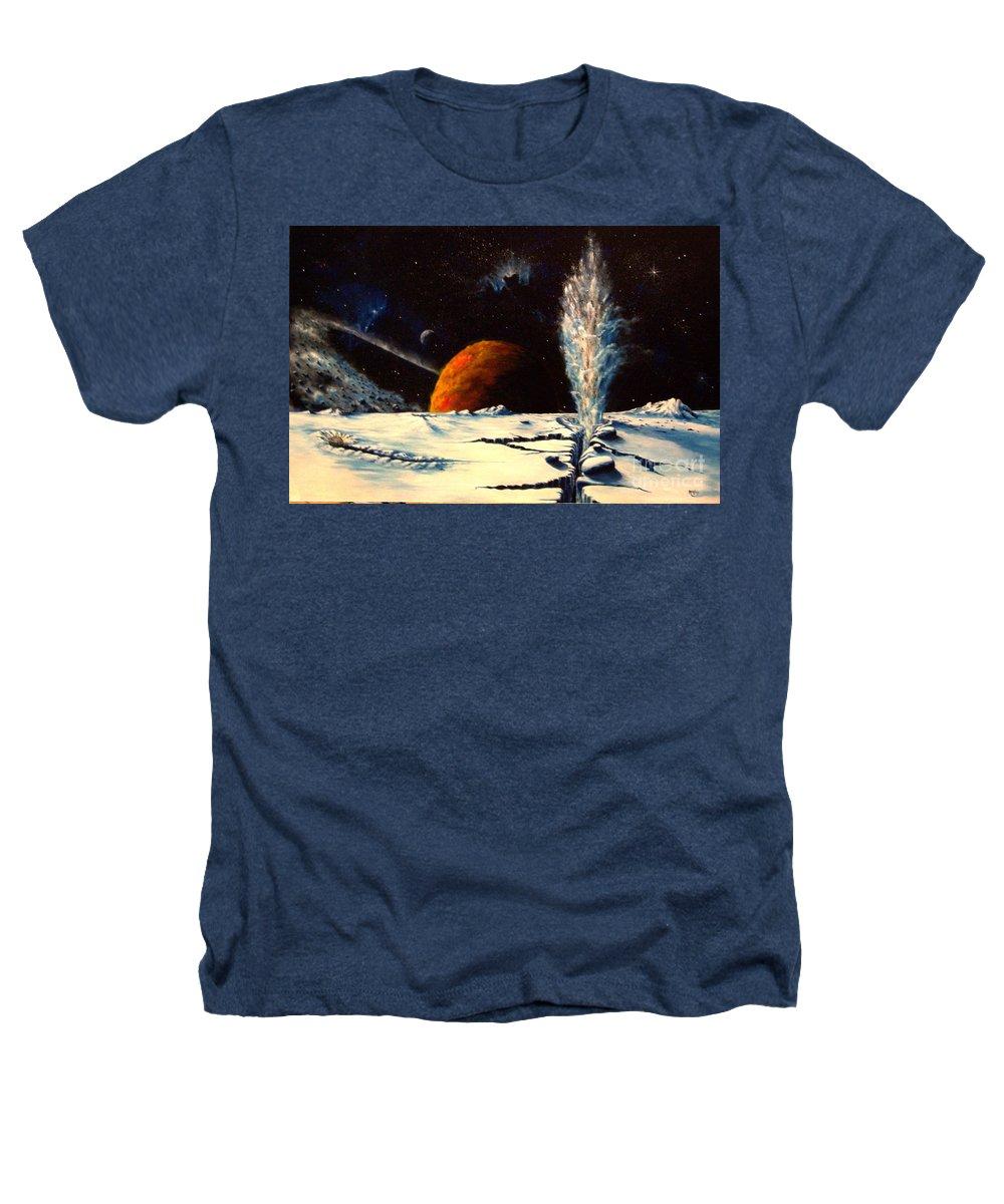 Landscape. Geyser Heathers T-Shirt featuring the painting Frozen Geyser by Murphy Elliott