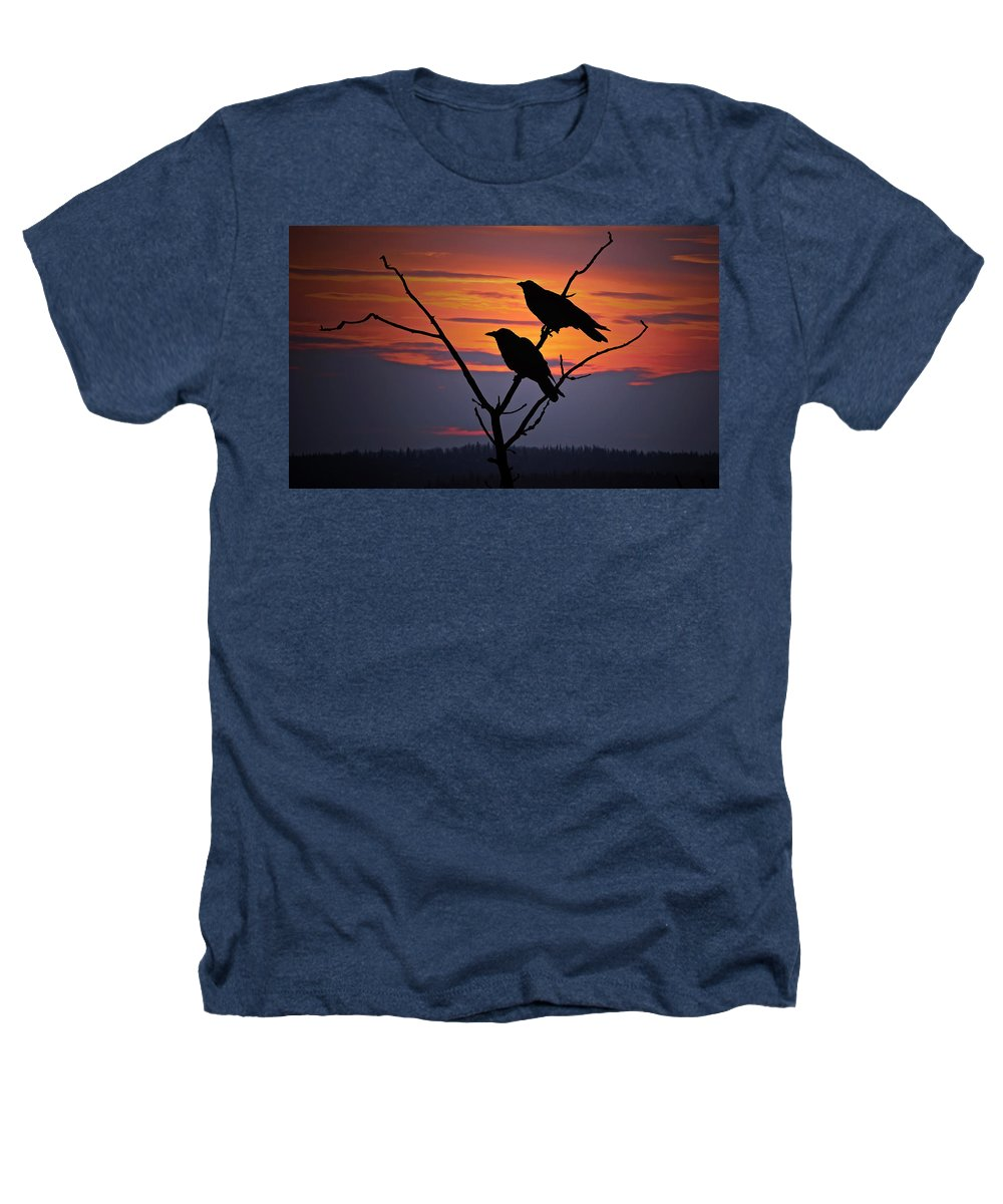 Raven Heathers T-Shirt featuring the photograph 2 Ravens by Ron Day