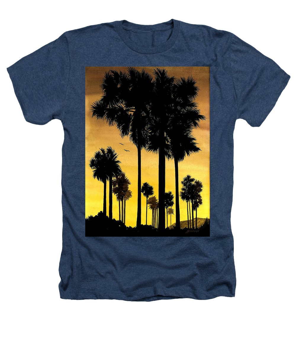 San Diego Sunset Heathers T-Shirt featuring the painting San Diego Sunset by Larry Lehman