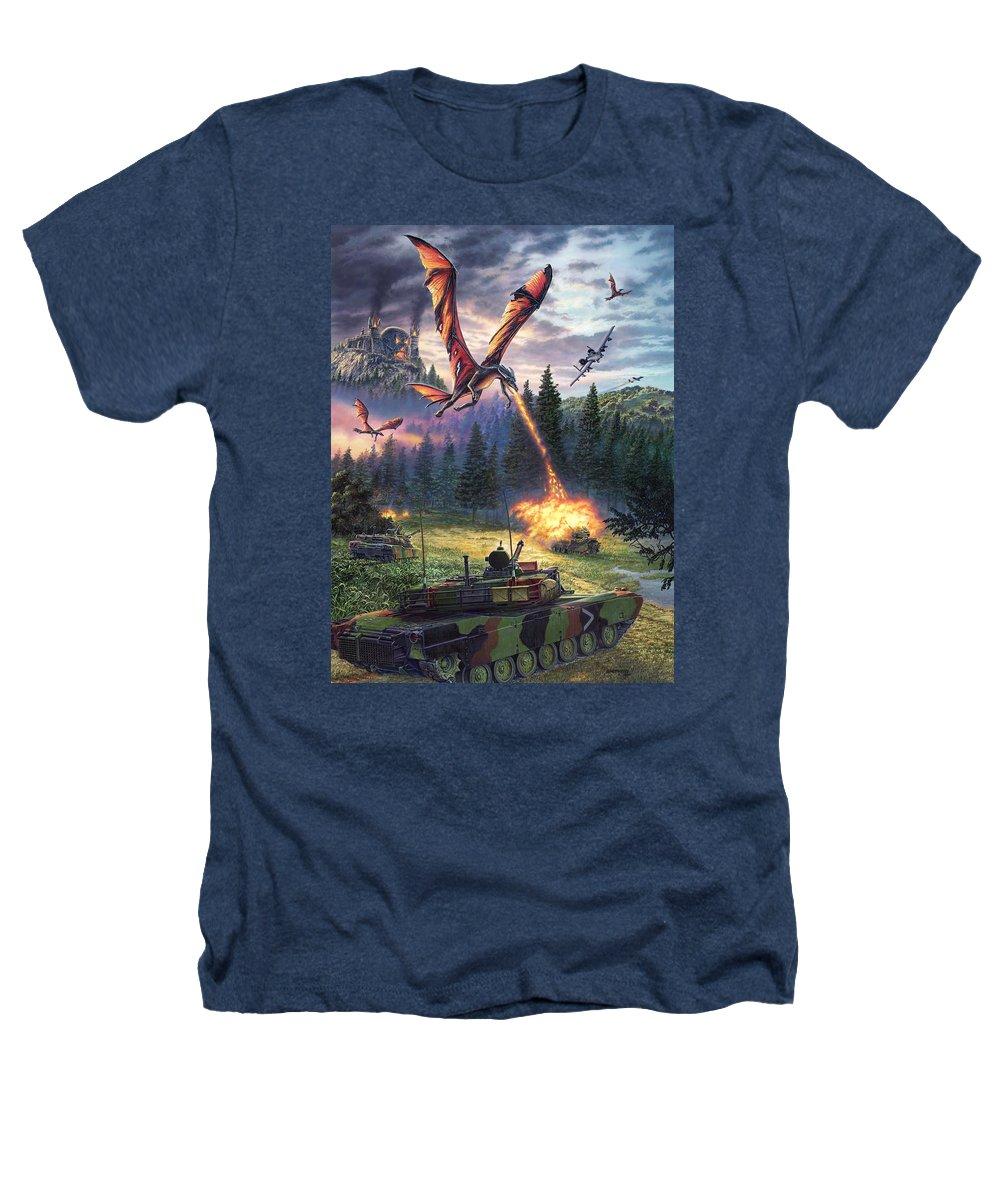 Dragon Heathers T-Shirt featuring the painting A Clash Of Worlds by Stu Shepherd