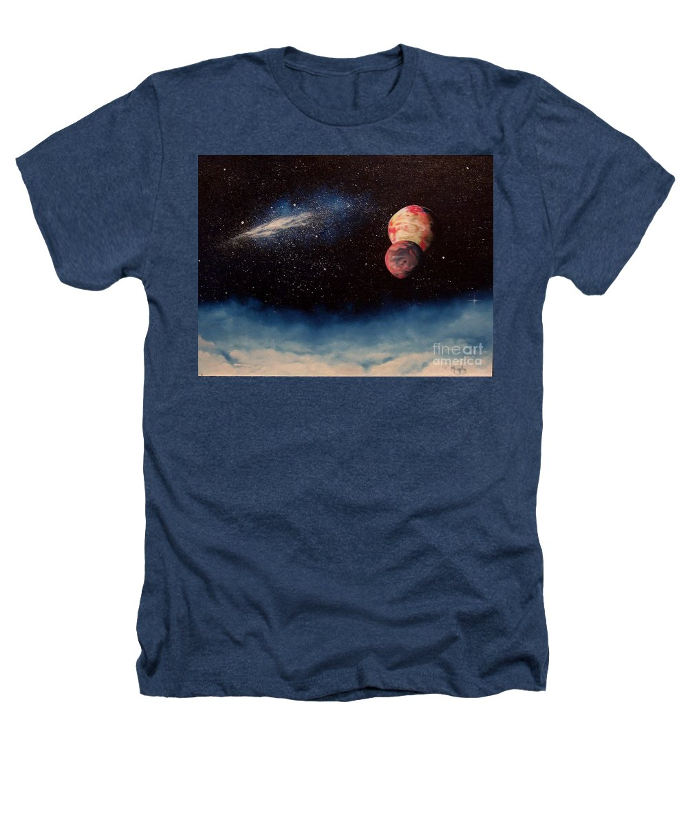 Landscape Heathers T-Shirt featuring the painting Above Alien Clouds by Murphy Elliott