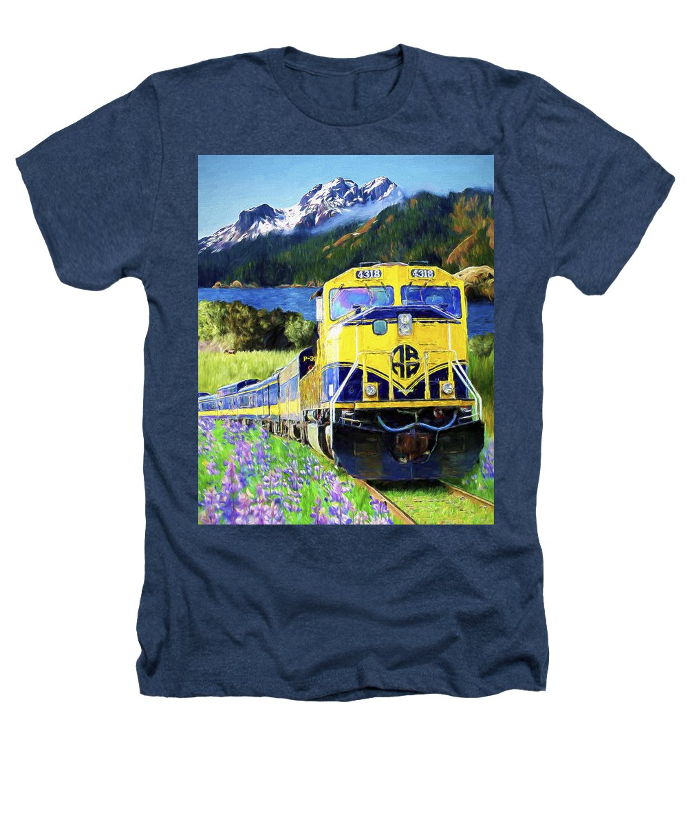 Railroad Heathers T-Shirt featuring the painting Alaska Railroad by David Wagner