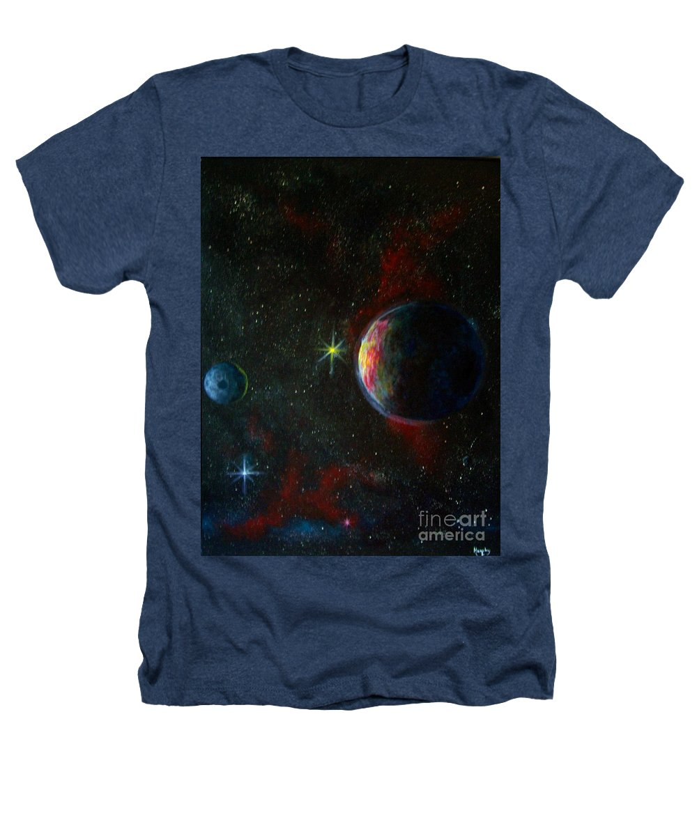 Cosmos Heathers T-Shirt featuring the painting Alien Worlds by Murphy Elliott