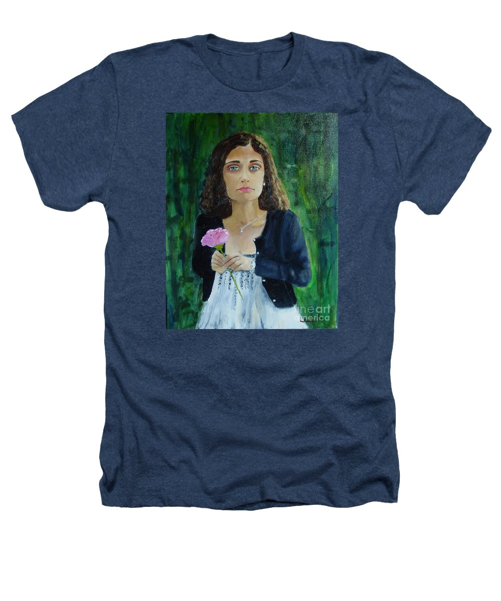 Portrait Heathers T-Shirt featuring the painting Aly by Laurie Morgan