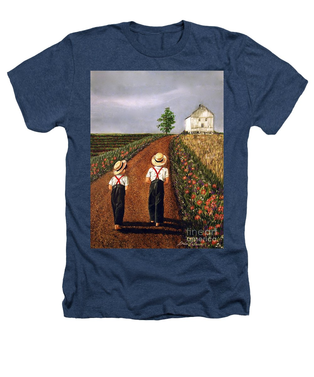 Lifestyle Heathers T-Shirt featuring the painting Amish Road by Linda Simon