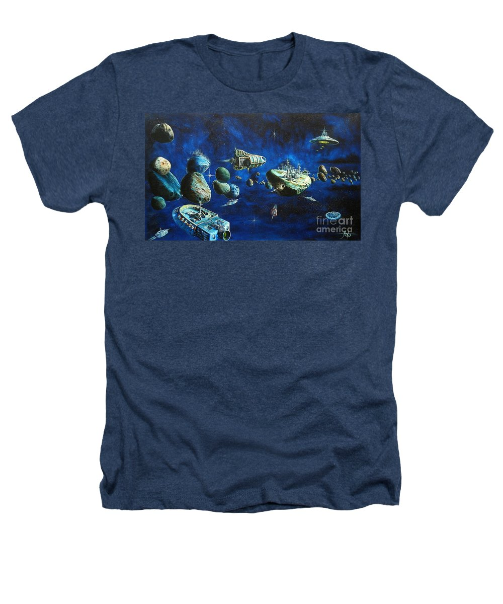 Fantasy Heathers T-Shirt featuring the painting Asteroid City by Murphy Elliott