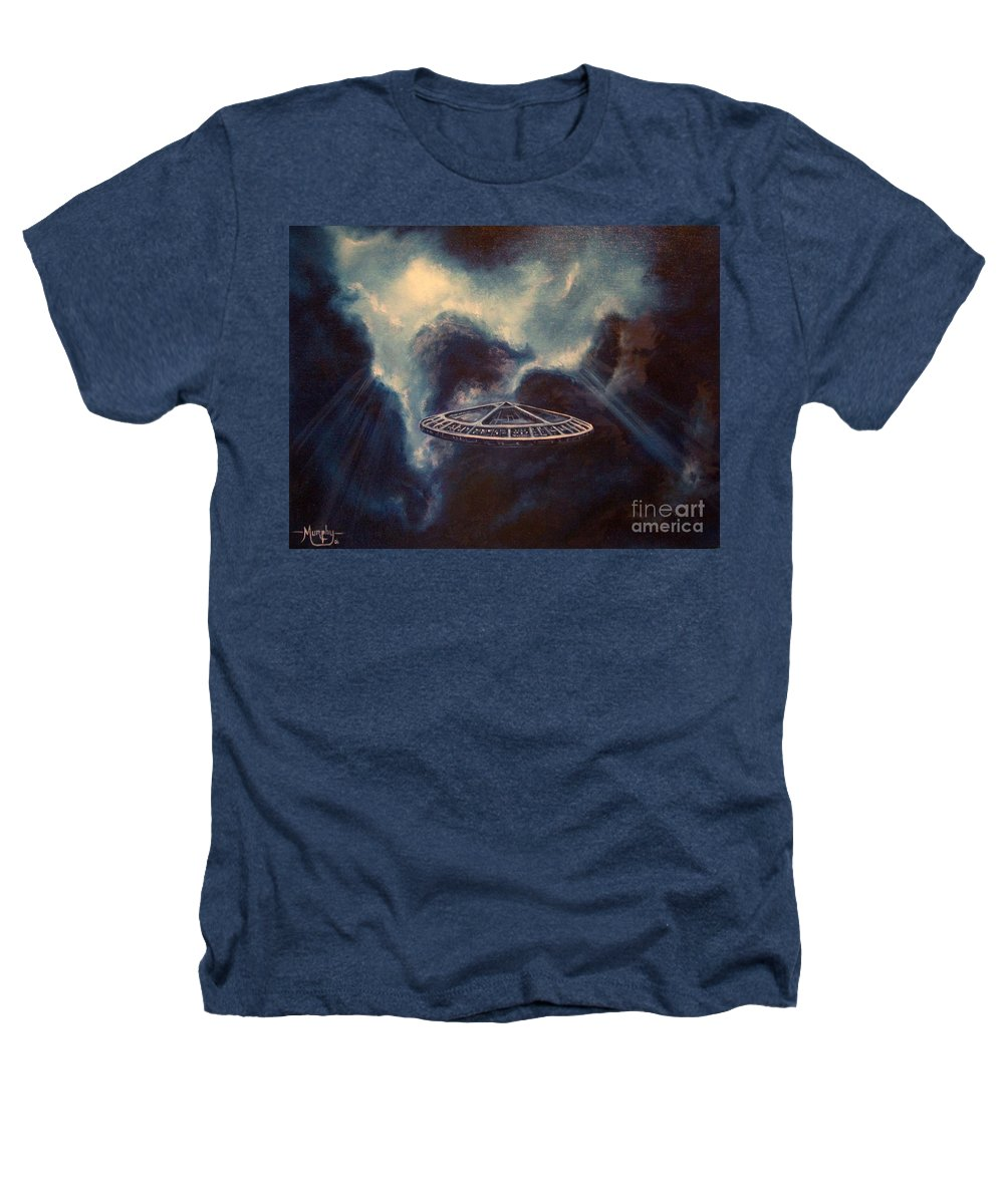 Si-fi Heathers T-Shirt featuring the painting Atmospheric Arrival by Murphy Elliott