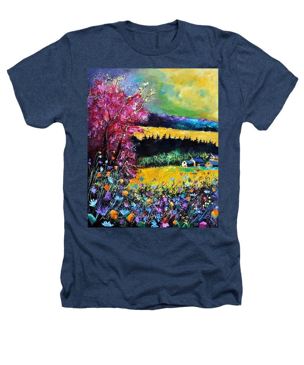 Landscape Heathers T-Shirt featuring the painting Autumn Flowers by Pol Ledent