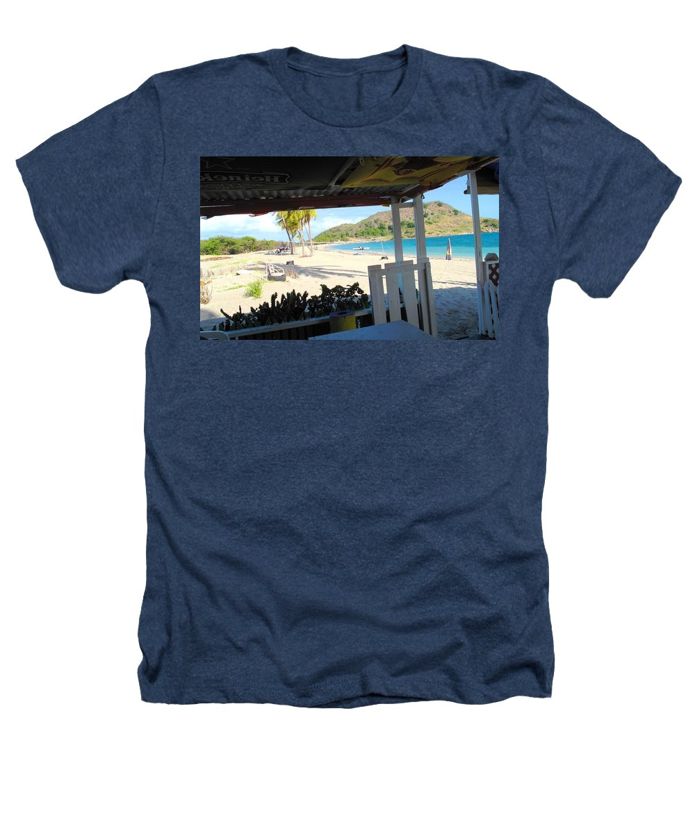 St Kitts Heathers T-Shirt featuring the photograph Beach Bar In January by Ian MacDonald