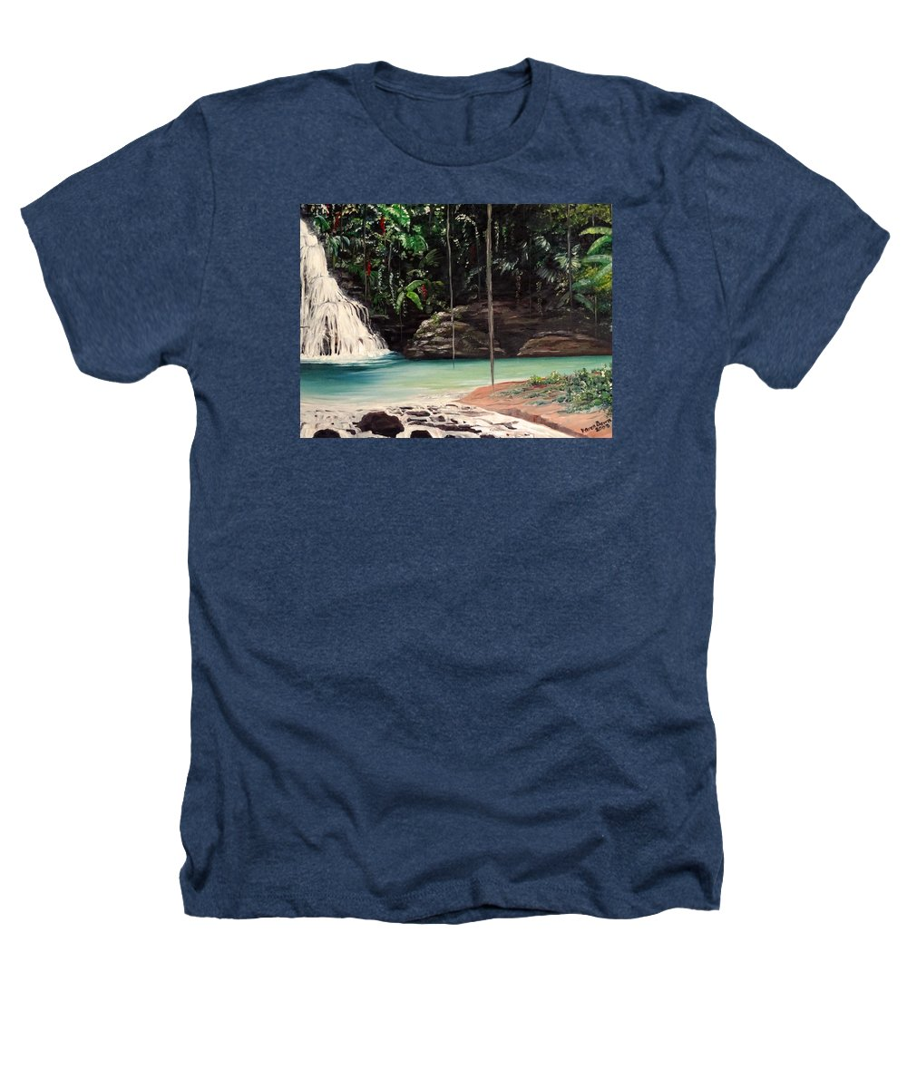 Tropical Waterfall Heathers T-Shirt featuring the painting Blue Basin by Karin Dawn Kelshall- Best