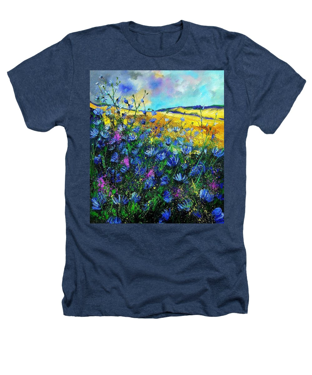 Flowers Heathers T-Shirt featuring the painting Blue Wild Chicorees by Pol Ledent