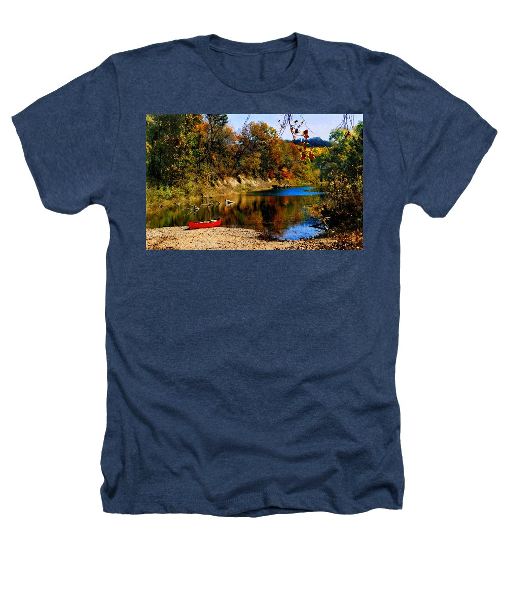 Autumn Heathers T-Shirt featuring the photograph Canoe On The Gasconade River by Steve Karol