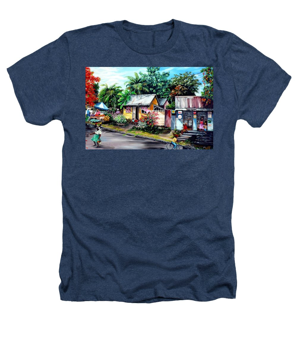 Landscape Painting Caribbean Painting Shop Trinidad Tobago Poinciana Painting Market Caribbean Market Painting Tropical Painting Heathers T-Shirt featuring the painting Chins Parlour   by Karin Dawn Kelshall- Best