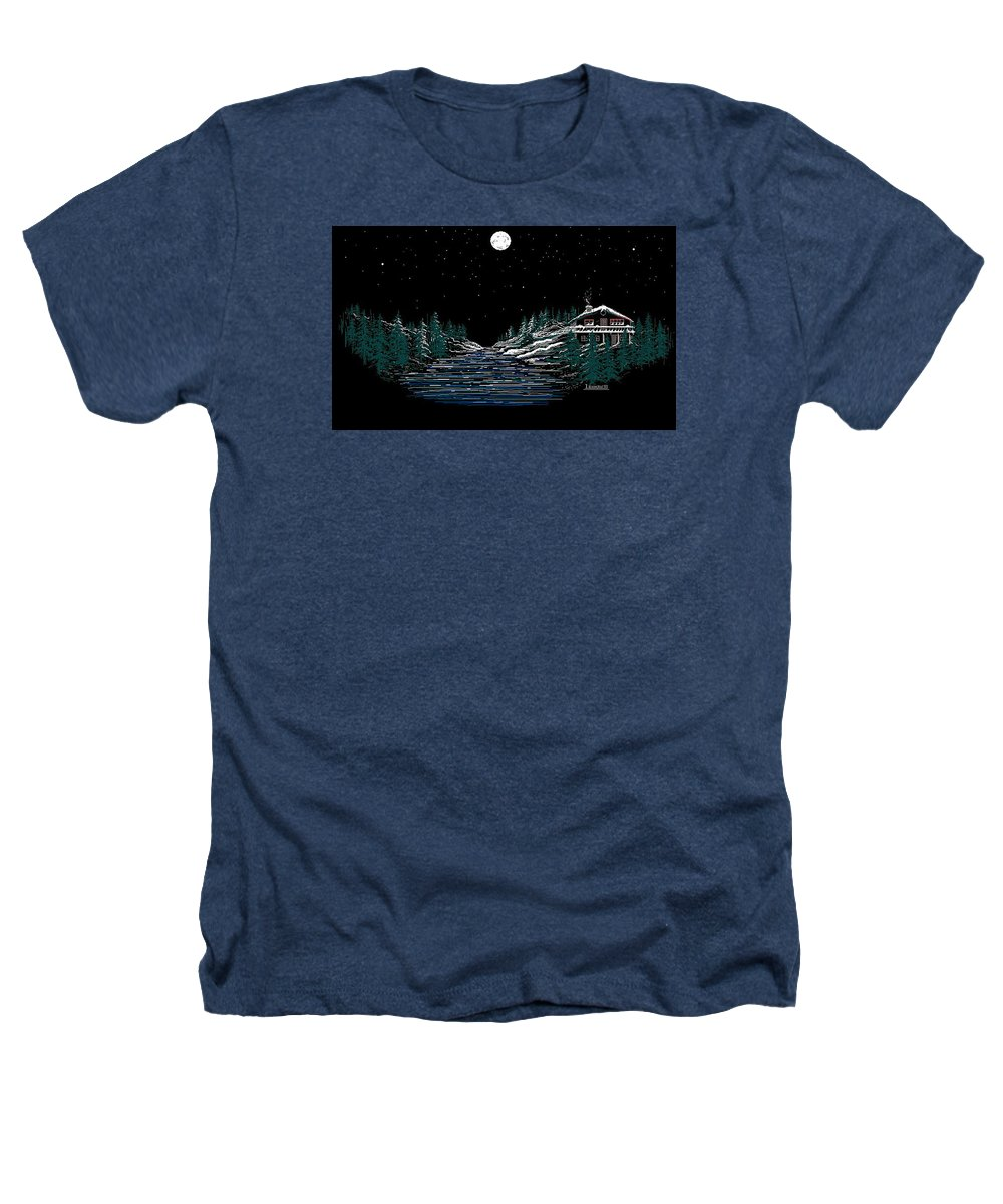 Cold Mountain Winter Heathers T-Shirt featuring the digital art Cold Mountain Winter by Larry Lehman