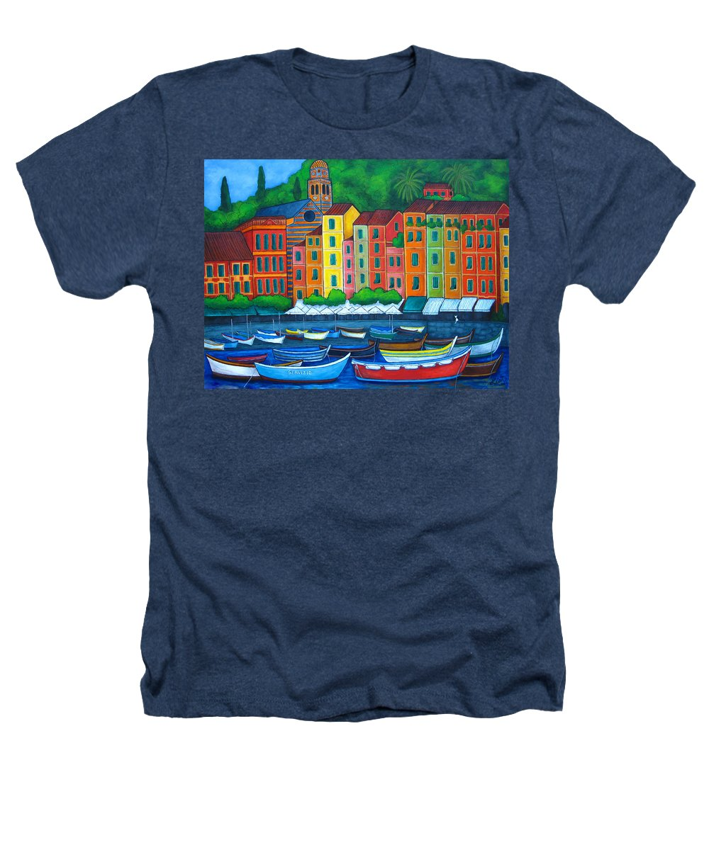 Portofino Heathers T-Shirt featuring the painting Colours Of Portofino by Lisa Lorenz