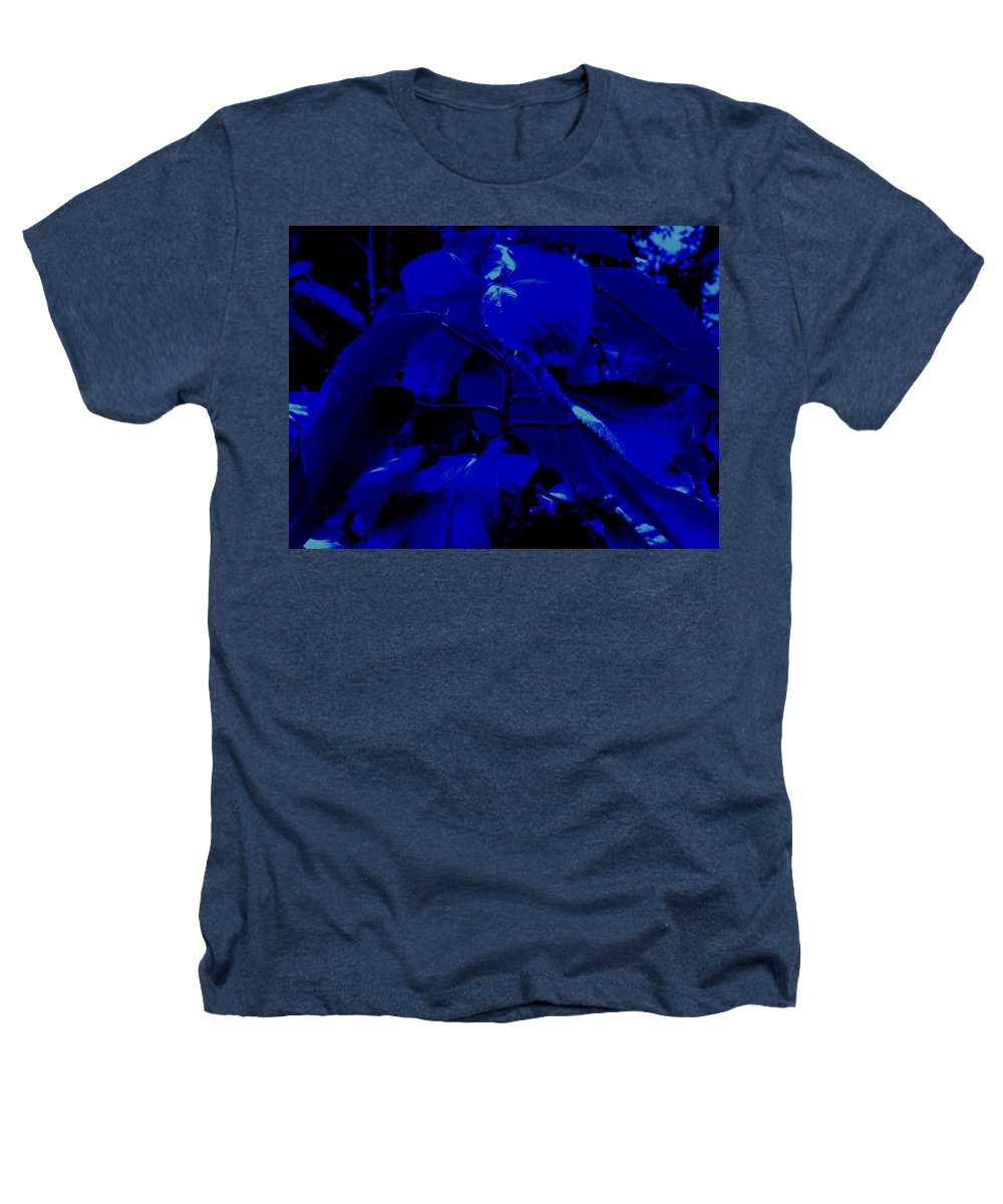 Leaves Heathers T-Shirt featuring the photograph Dark Blue Leaves by Ian MacDonald