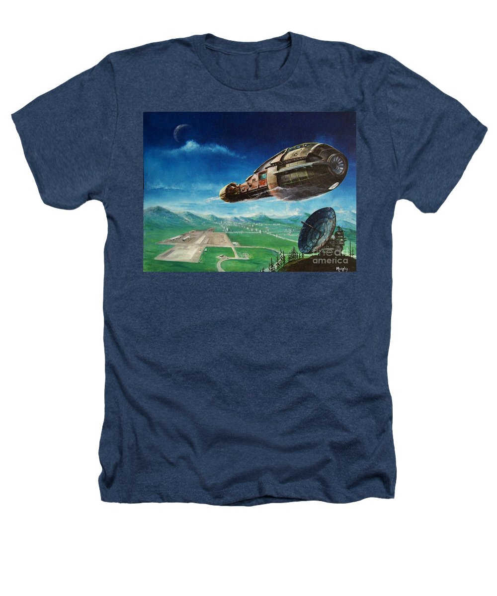 Landscape Heathers T-Shirt featuring the painting Did You Call by Murphy Elliott