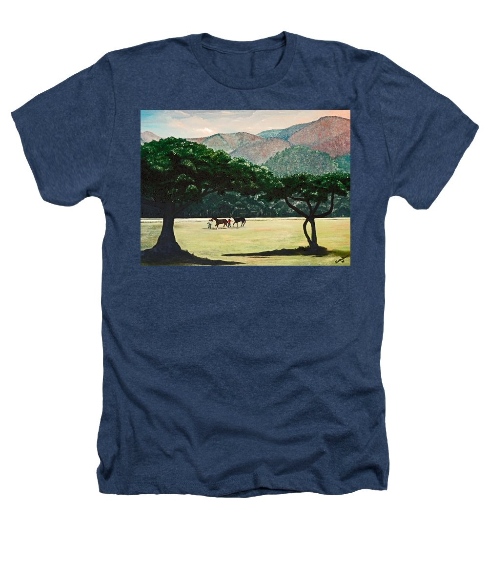 Trees Heathers T-Shirt featuring the painting Early Morning Savannah by Karin Dawn Kelshall- Best