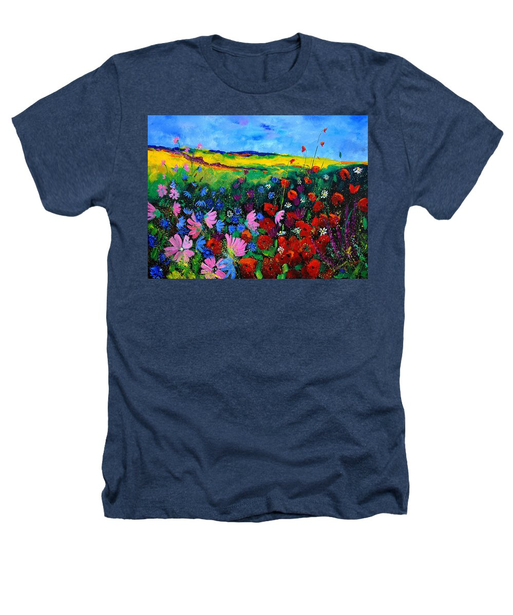 Poppies Heathers T-Shirt featuring the painting Field Flowers by Pol Ledent