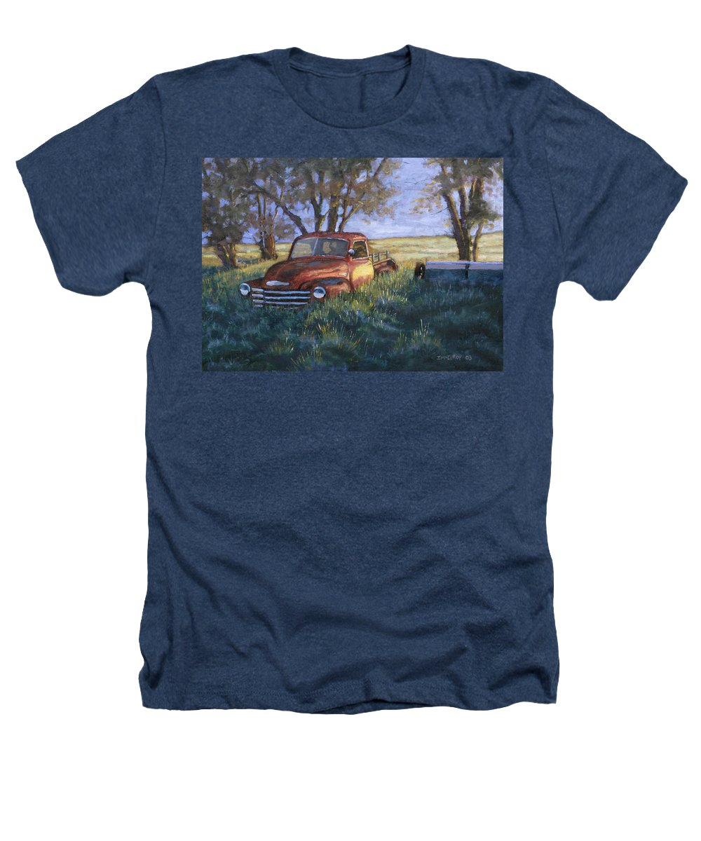 Pickup Truck Heathers T-Shirt featuring the painting Forgotten But Still Good by Jerry McElroy