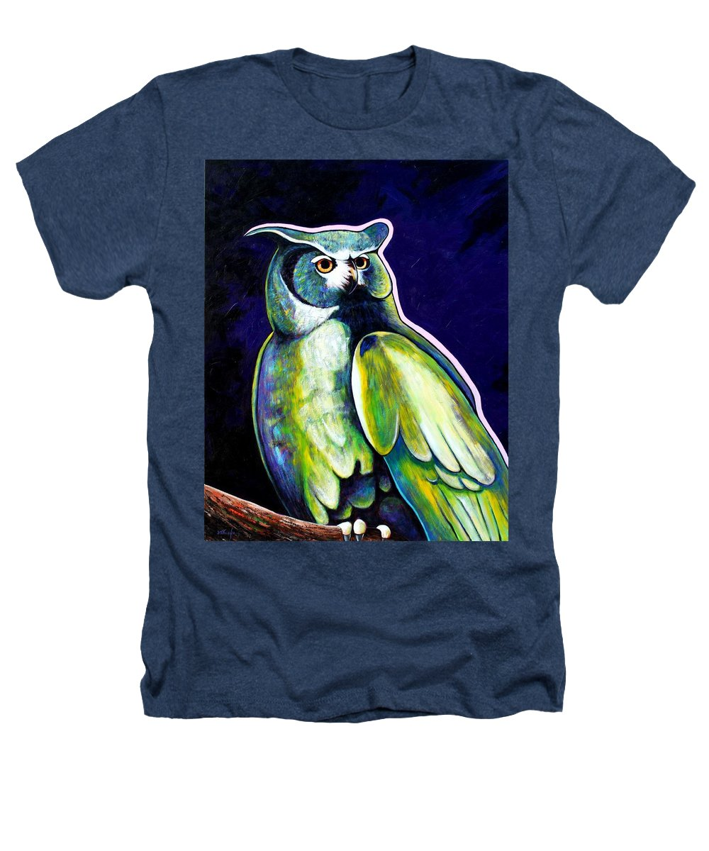 Owl Heathers T-Shirt featuring the painting From The Shadows by Joe Triano